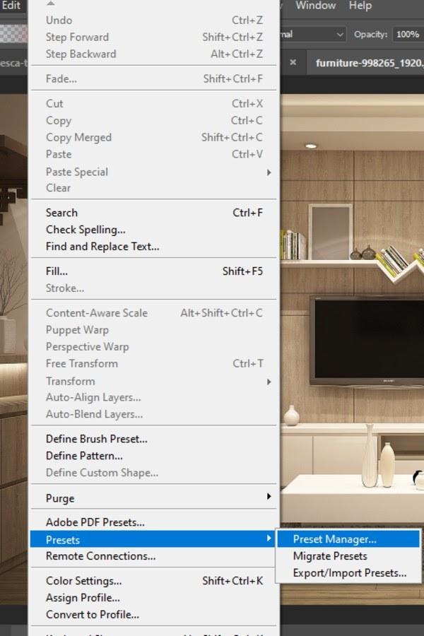 edit menu options - highlighted presets
