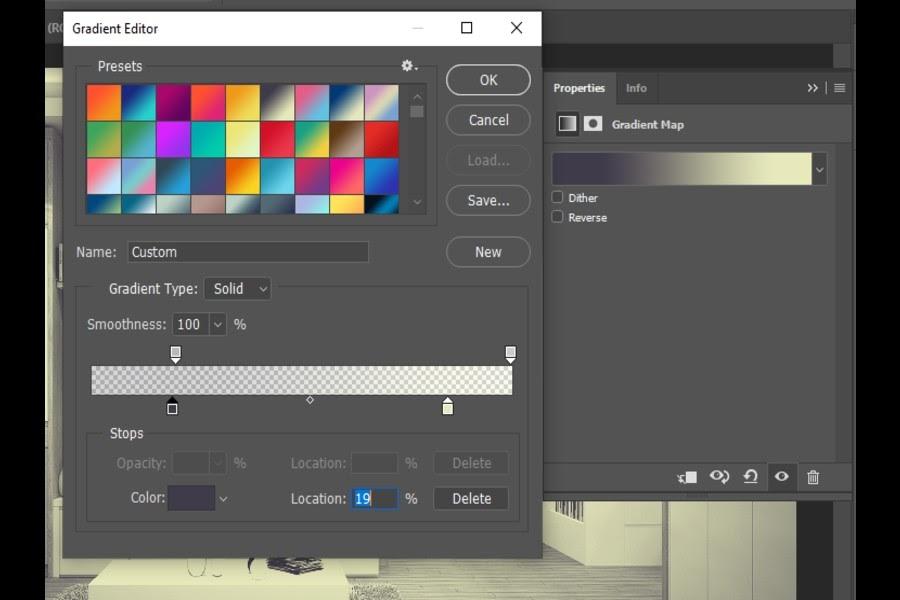 gradient editor window in photoshop