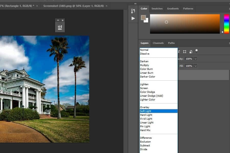 Using the Soft Light option in Photoshop
