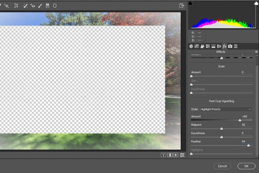 Adjusting an image using Vignette Settings