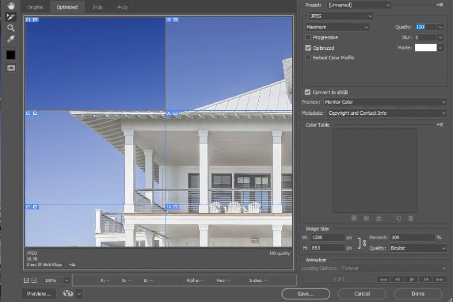 Assembling a sliced image in Photoshop