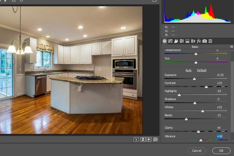 Adjusting an image using the Contrast, Whites, and Clarity sliders