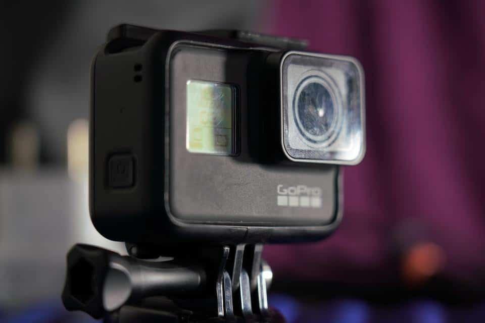 Close up shot of black GoPro camera