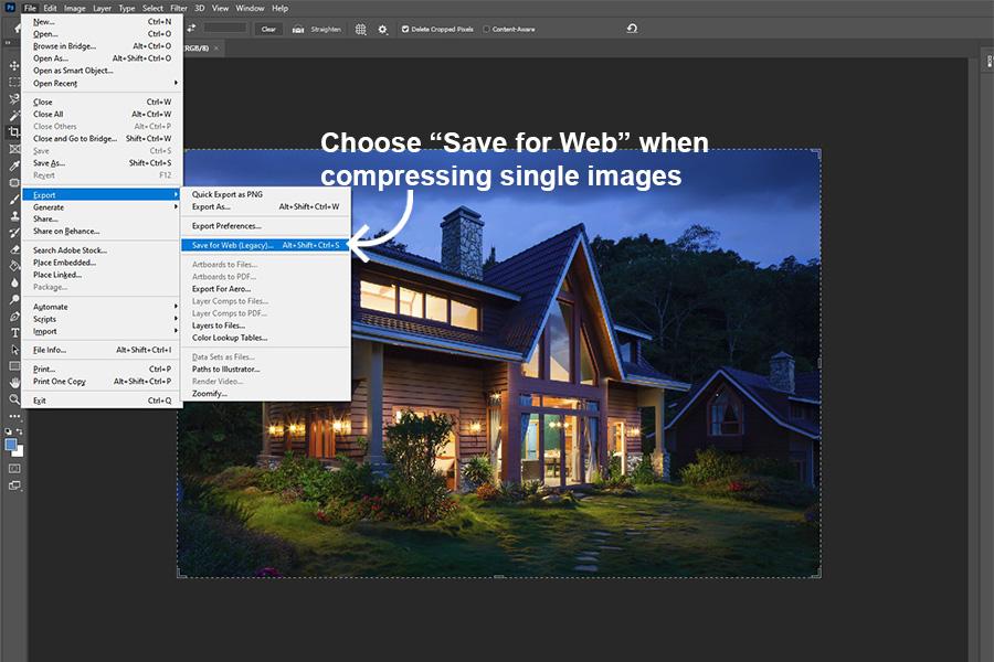 Photoshop step on how to reduce single image