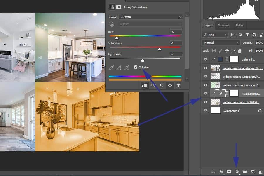 Changing a color layer in Photoshop with Hue/Saturation Adjustment Layer