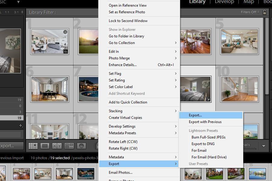 Lightroom Export option from pop-up menu