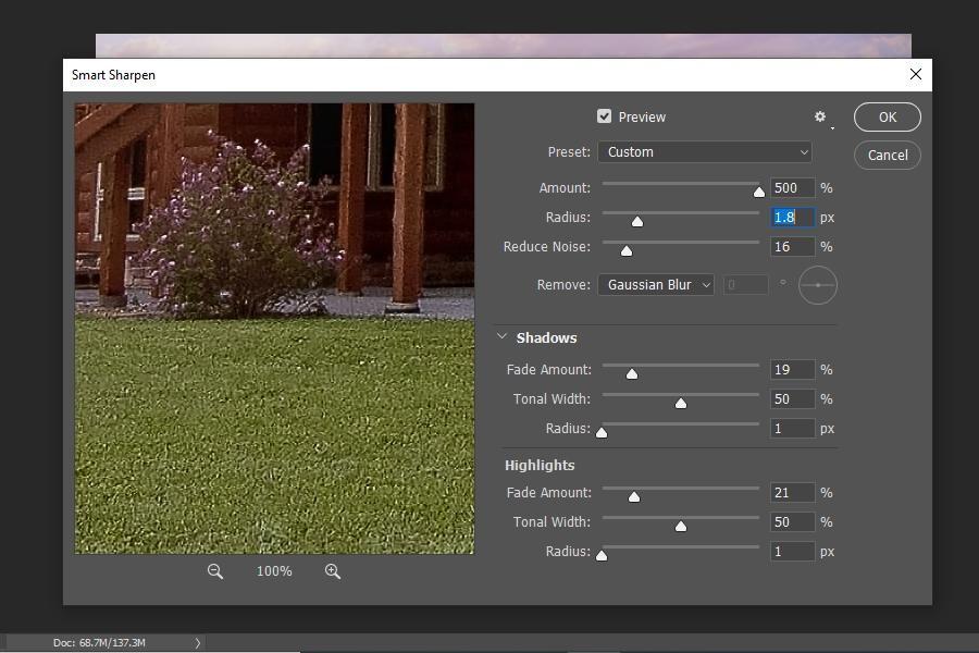 Using Smart Sharpening method to fix blur in Photoshop