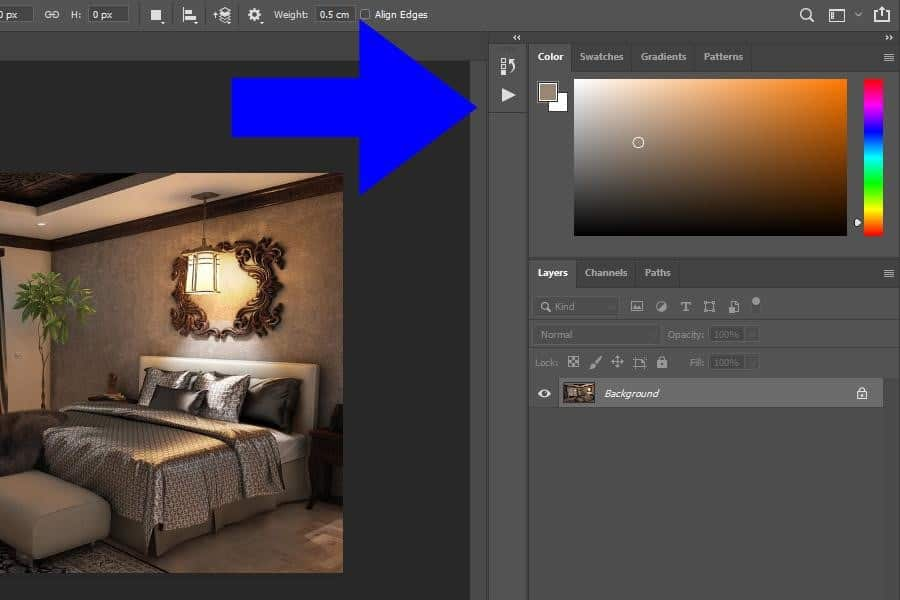 Panels on the right side of your Photoshop interface