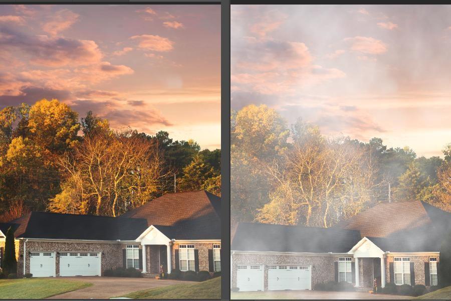 Before and after image of adding fog using dehaze slider