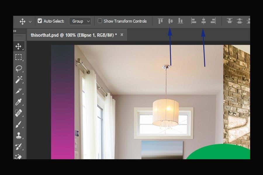 Aligning the Image vertically and horizontally to the center in Photoshop