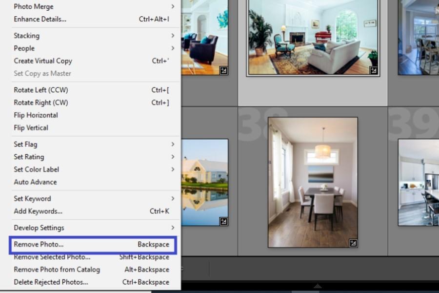 Remove Photo option in Lightroom