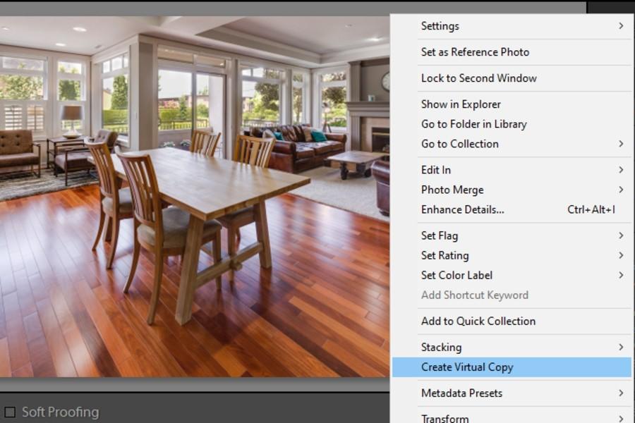 Creating a virtual copy in Lightroom