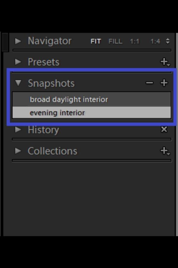 Snapshots options in Lightroom