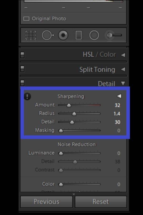 Adjusting the masking sliders to sharpen photos in Lightroom