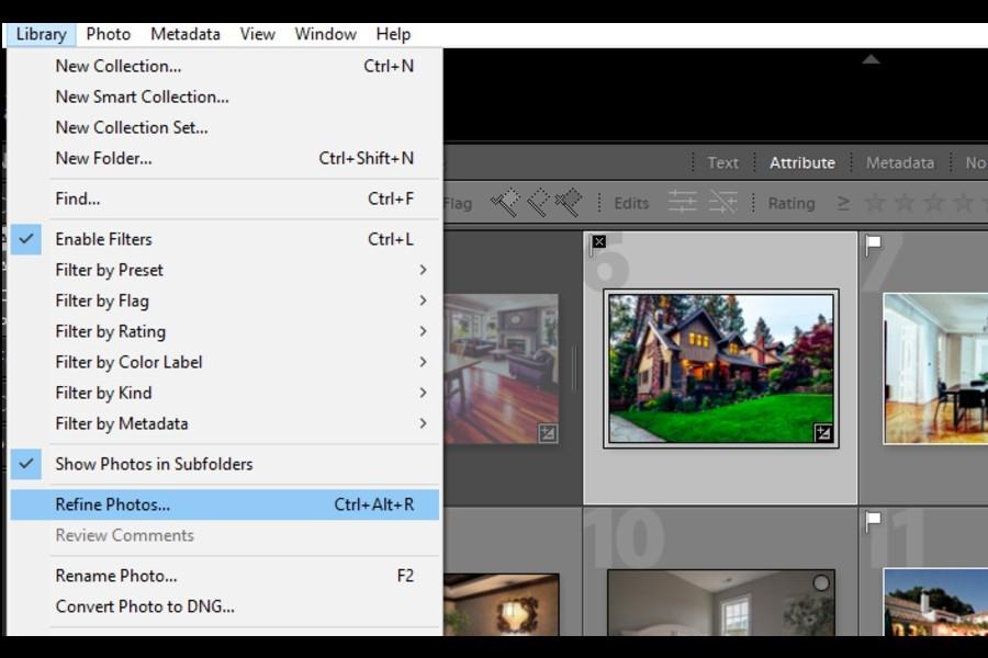 Selecting Refine Photos option in Lightroom