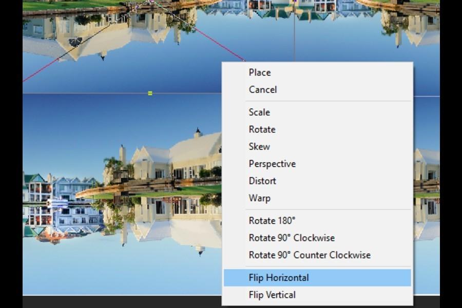 Flip Horizontal option in Photoshop