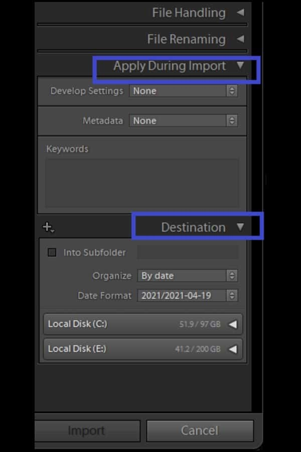 Choose where to store the copied or moved images that you intend to import in Destination panel