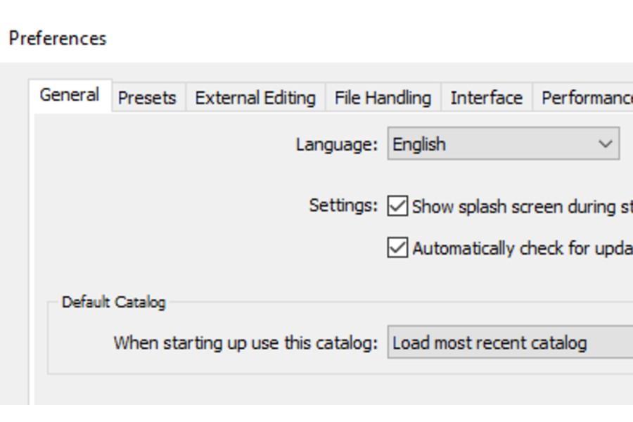 Default catalog settings under General tab in Lightroom