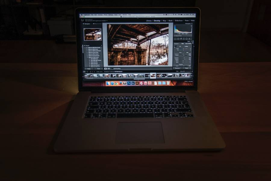 A photo being edited on Lightroom