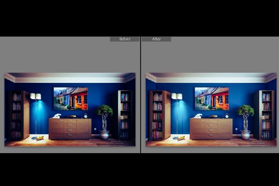 Before and after adjusting brightness and contrast in Lightroom