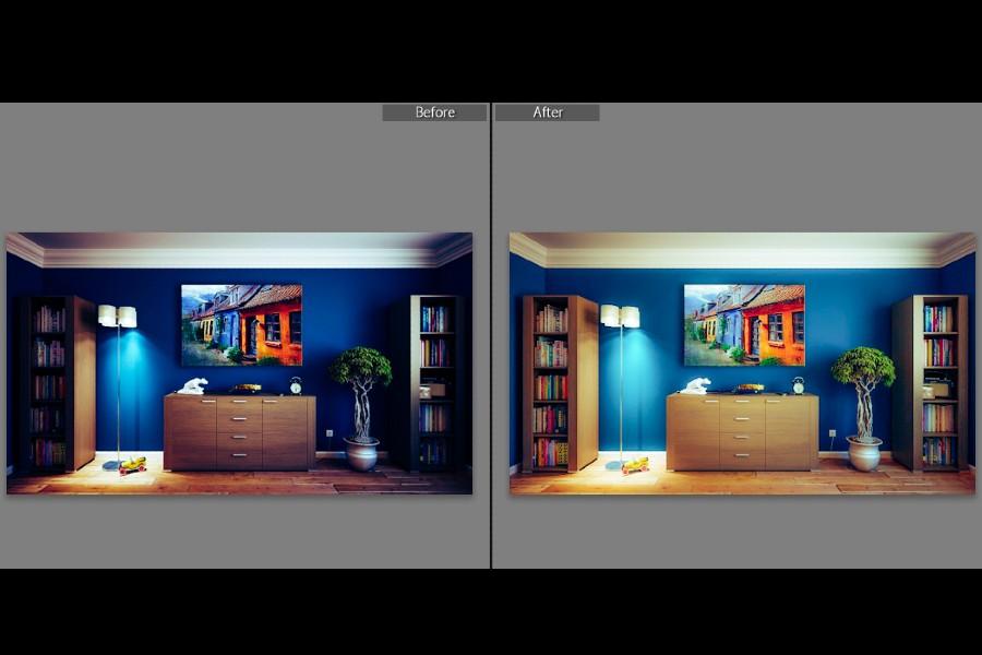 Before and after slider adjustments in Lightroom