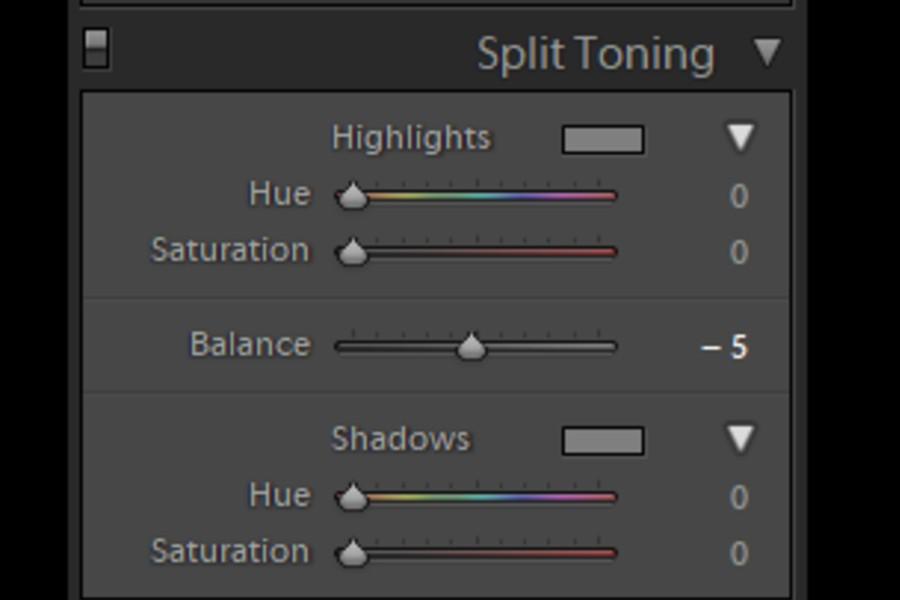 Split toning panel in Lightroom