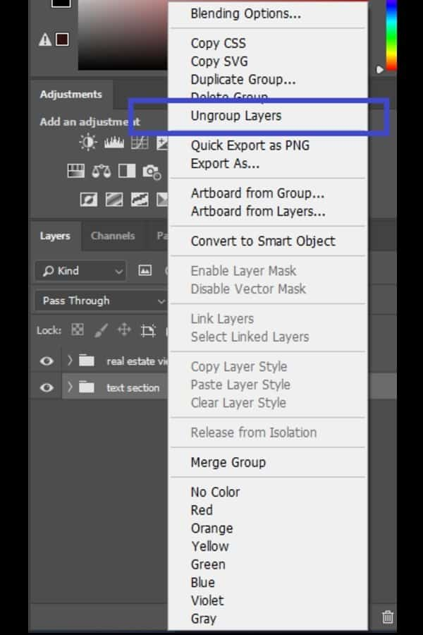 Ungroup Layers option in Photoshop