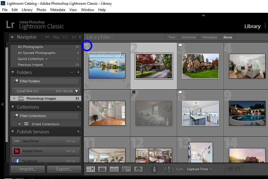 Flagging Images in Lightroom using the flag icon