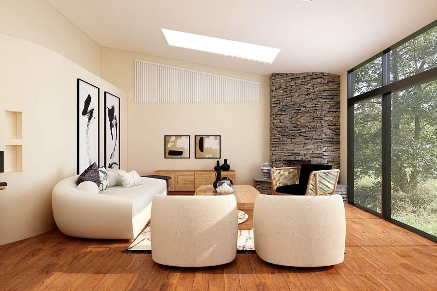 A landscape shot of a living room area