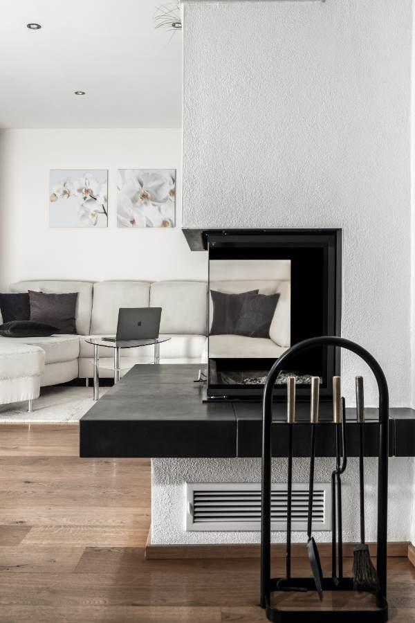 Vertical shot of a modern fireplace