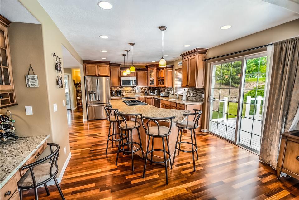 Kitchen with brown interior