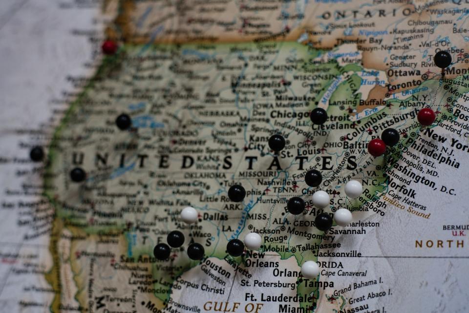 Closeup shot of United States map