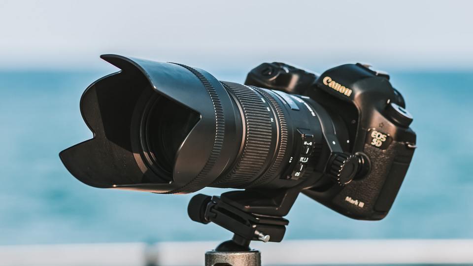 Camera on a tripod ball head