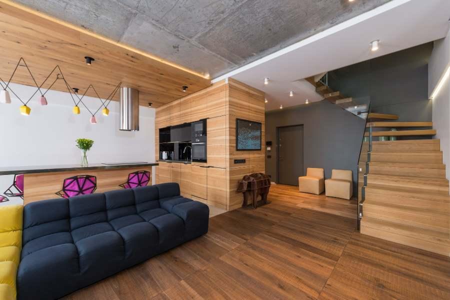 Wooden-themed living interior